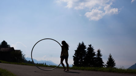 Cyr wheel capturing mountains