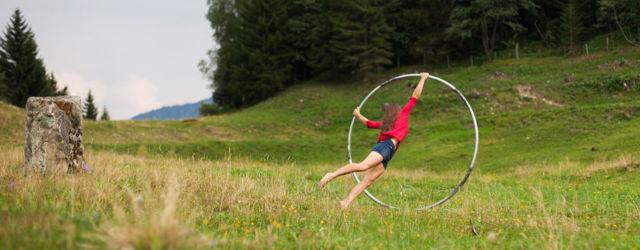 Looping on mountain meadow