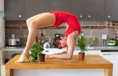 Backwards contortion on counter