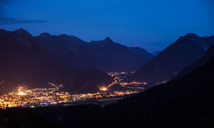 Bludenz from above at night