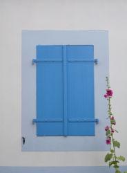Closed blue shutters