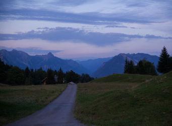 Mountains at dusk on the Tschengla