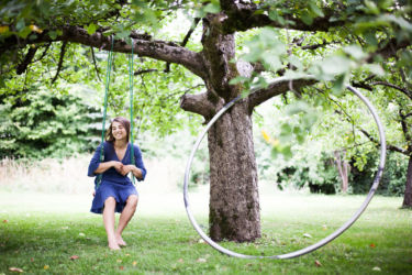 Under the apple tree with my cyr wheel